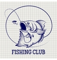 Hand drawn fishing club logo vector image