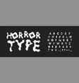 horror letters and numbers set scary cartoon vector image