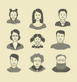 icons human faces a different sex and age vector image vector image