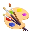 Isolated artist palette with three long different vector image