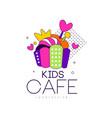 kids cafe logo design badge label for childrens vector image vector image
