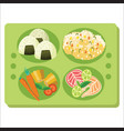 lunch tray poster green salver with garnish vector image