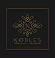 luxurious letter n logo with classic line art vector image vector image