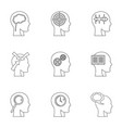 man head with thoughts icons set outline style vector image vector image