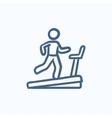 Man running on treadmill sketch icon vector image vector image