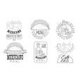 mexicano menu hand drawn retro labels set vector image vector image