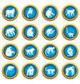 monkey types icons blue circle set vector image vector image