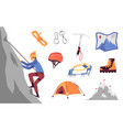 mountaineering and climbing set flat cartoon vector image