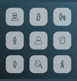 person icons line style set with old female vector image vector image
