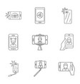 pix icons set outline style vector image
