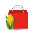 red bag buying corn cob vegetable