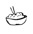 rice icon ggrunge ink brush vector image vector image