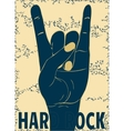 Rock hand gesture on yellow background vector image