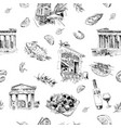 seamless pattern landmarks and cafes greece vector image