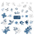 set blue flowers and leaves watercolor style vector image