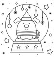 snow globe with a dog coloring page black and vector image vector image