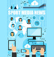 sport media news outline icons vector image