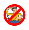 stop onanism guy masturbates ban prohibitory road vector image vector image