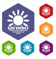sun energy icons hexahedron vector image vector image