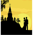 Sunshine church and wedding couple vector image
