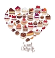 Symbol Heart made of different desserts Phrase vector image vector image