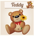 Teddy bear with yellow flower Cartoon vector image vector image