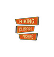 vintage hand drawn camping signs travel badges vector image vector image
