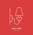 wall lamp flat line icon logo for interior vector image