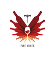 wine bottles with glass logo cellar screw vector image vector image