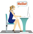 Woman with headset on her head sitting on a chair vector image vector image