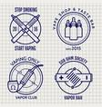 ball pen vape shop logo set vector image
