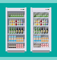 showcases refrigerators for cooling drinks vector image