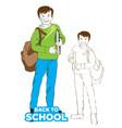 school boy with bag green color dress vector image