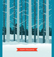 woods in winter with falling snow greeting card vector image