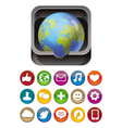 app icon - globe in square box with social media vector image vector image