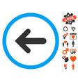 arrow left icon with lovely bonus vector image vector image
