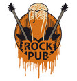 banner for rock pub with beer barrel and guitars vector image