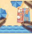 beach shore tropical ocean waterfront character vector image