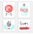 beautiful valentines day cards with hand drawn vector image vector image