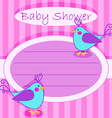 Bird baby shower invitation-girl vector image
