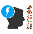 brain electricity icon with lovely bonus vector image vector image