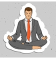 Businessman thinking during meditation cartoon vector image vector image