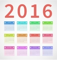Calendar annual 2016 in flat design vector image
