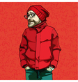 cartoon funny man in red winter clothes vector image vector image