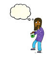 cartoon hippie man with bag of weed with thought vector image vector image