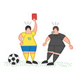 cartoon soccer player man showing red card to vector image vector image