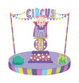 cute circus bear with layer in stage vector image
