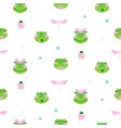cute frogs and dragonfly seamless pattern vector image vector image