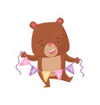 cute humanized bear holding bunting flags with vector image vector image