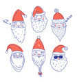 cute santa clauses set vector image